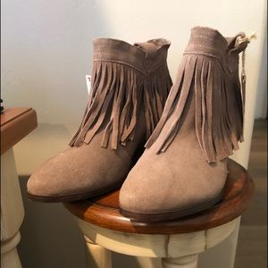 NWT Restricted Fringe Booties made w/ real suede